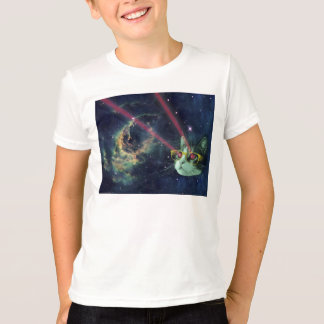 Laser cat with glasses in space T-Shirt