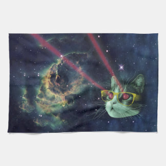 Laser cat with glasses in space tea towel