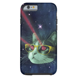 Laser cat with glasses in space tough iPhone 6 case