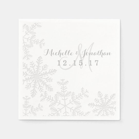 Laser Cut Silver Snowflakes Winter Wedding Napkin Paper