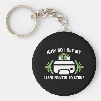 Laser Printer Basic Round Button Key Ring