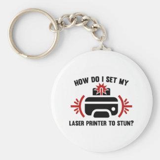 Laser Printer Basic Round Button Keychain