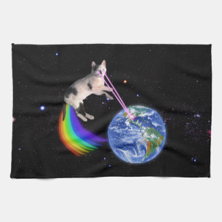 Laser Rainbow Space Cat Tea Towel