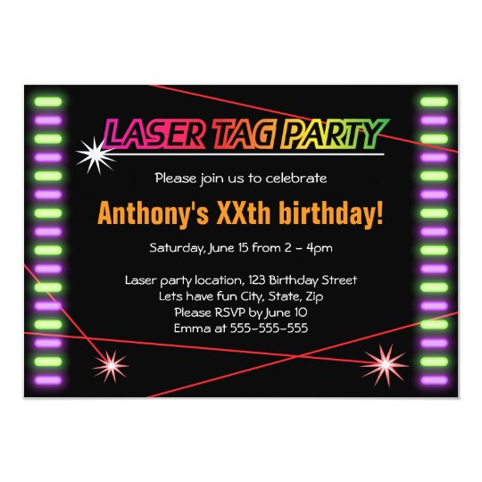 Laser tag birthday party cool black invitation