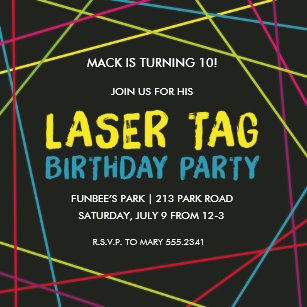 Laser tag birthday invitations announcements zazzle laser tag birthday party invitation stopboris Choice Image