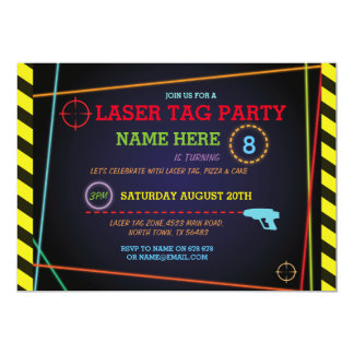 Laser Tag Birthday Party Zone Neon Invitation