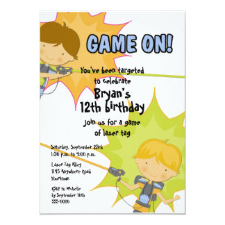 Laser Tag Boys Birthday Invitation