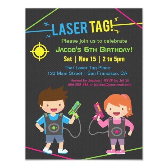 Laser Tag Kids Birthday Party Invitations