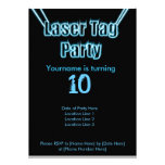Laser Tag Party Blue Invitation