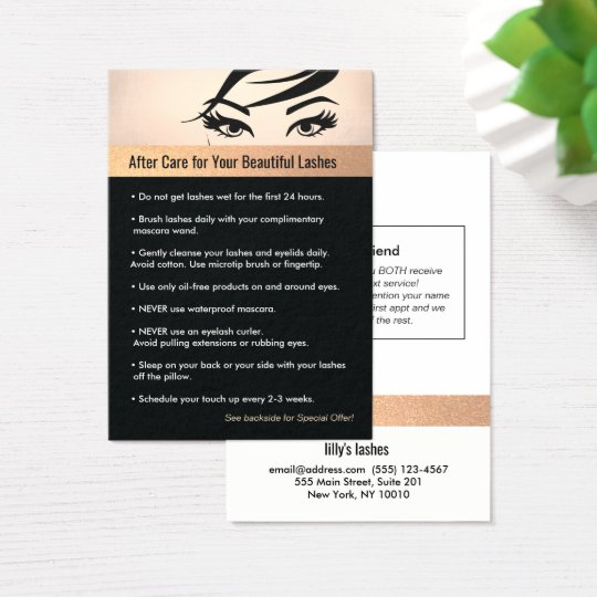 Lash Extensions Aftercare Instructions & Referral Business