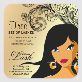 Lash Woman Sticker Gold Tan Ethnic Woman