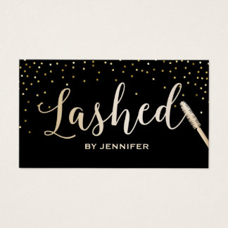 Lashed Makeup Artist Gold Script Gold Confetti Business Card
