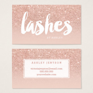 Lashes beauty modern typography blush rose gold business card