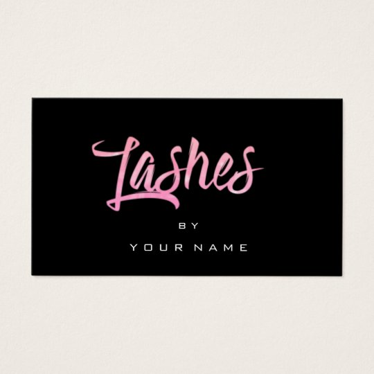 Lashes Bright Pink Rose Black Typograph Makeup Business