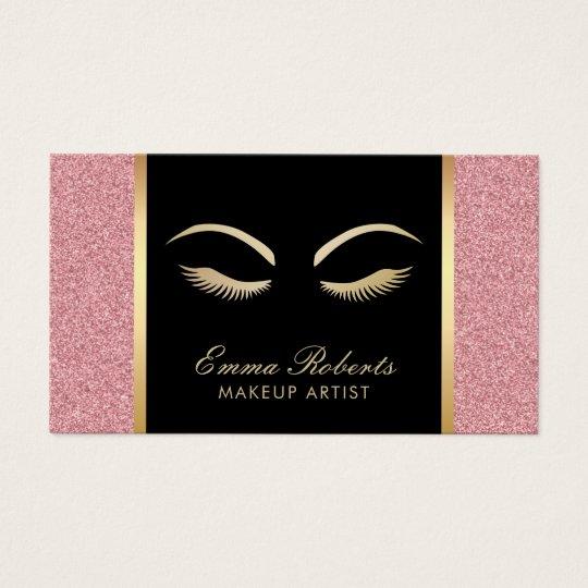 Lashes & Brow Makeup Artist Modern Rose Gold Salon Business Card