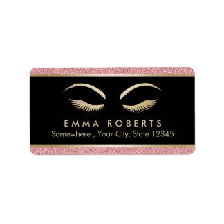 Lashes & Brow Makeup Artist Modern Rose Gold Salon Label