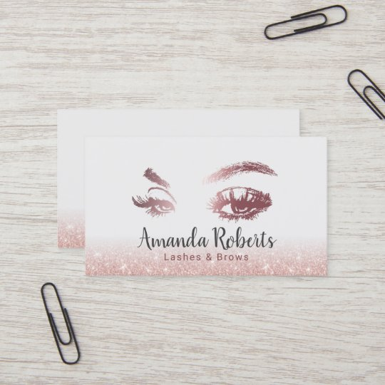 Lashes & Brows Makeup Artist Rose Gold Glitter Business Card | Zazzle.co.uk