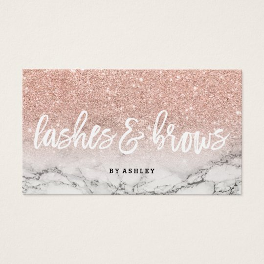 Lashes brows typography rose gold glitter marble business