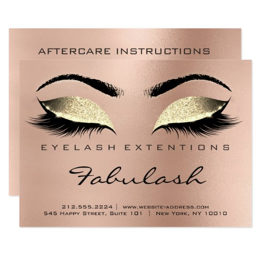 Lashes Extension Aftercare Instruction Gold Rose Card