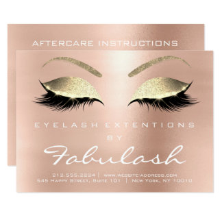 Lashes Extension Aftercare Instruction Pink Gold Card