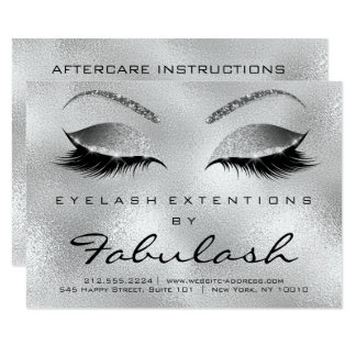 Lashes Extension Aftercare Instruction Silver Gray Card