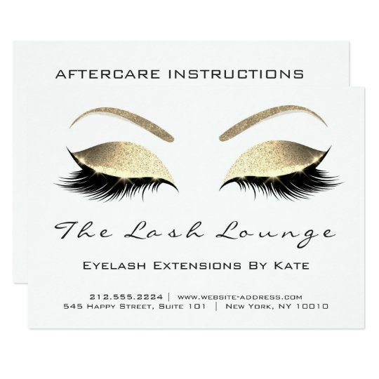 Lashes Extension Aftercare Instruction White Black Card