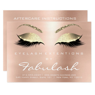 Lashes Extension Aftercare Instruction White Pink Card