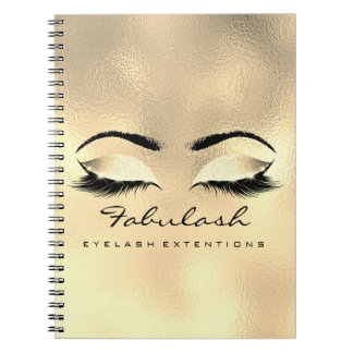 Lashes Extension Eyes Makeup Artist Gold Browns Notebook