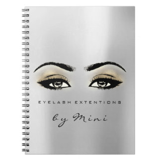 Lashes Extension Eyes Makeup Artist Grey Gold Notebook