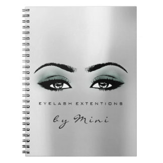 Lashes Extension Eyes Makeup Artist Grey Teal Notebook