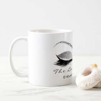 Lashes Extention Beauty Studio Silver Gray Glitter Coffee Mug