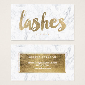 Lashes eye modern faux gold typography marble business card
