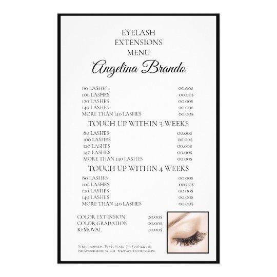 Lashes Eyelash Extensions White Price List Flyer