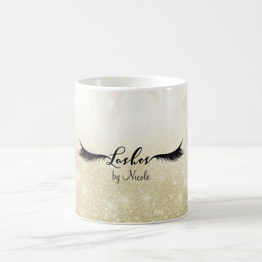 LASHES Eyelashes Gold Glam Personalised Beauty Coffee Mug