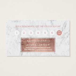 Lashes faux rose gold typography marble loyalty business card