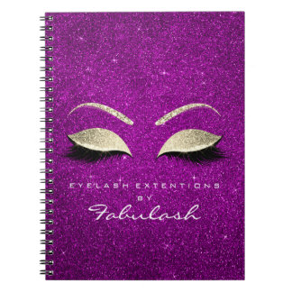 Lashes Glitter Eyes Makeup Pink Gold Magenta Name Notebook