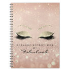 Lashes Glitter Eyes Makeup Pink Rose Gold Skinny Notebook