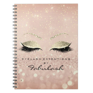 Lashes Glitter Eyes Makeup Pink Rose Gold Skinny Notebooks