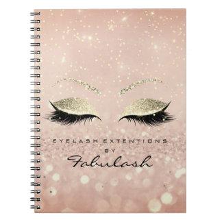 Lashes Glitter Eyes Makeup Pink Rose Gold Skinny Notebooks