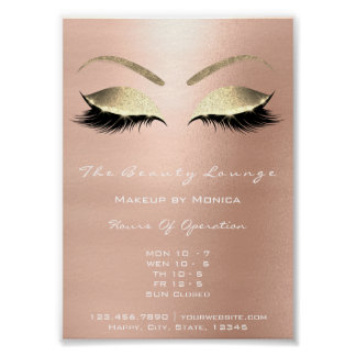 Lashes Makeup Artist Glitter Beauty Salon Gold Poster