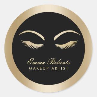 Lashes Makeup Artist Modern Black & Gold Salon Round Sticker