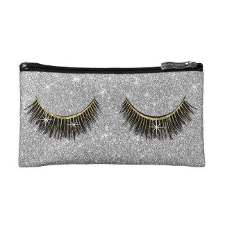 Lashes Makeup Artist Modern Silver Glitter Makeup Bag