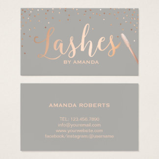 Lashes Makeup Artist Rose Gold & Grey Business Card