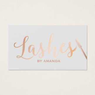Lashes Makeup Artist Rose Gold Script Classy Grey Business Card