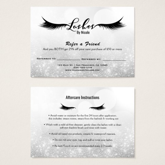 Lashes Refer a Friend Aftercare Instruction Silver Business Card