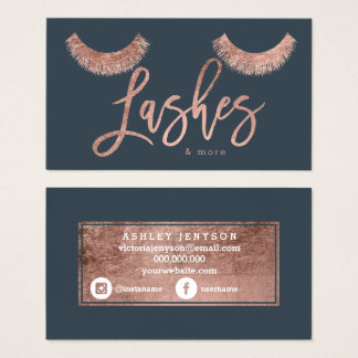 lashes rose gold typography charcoal media business card
