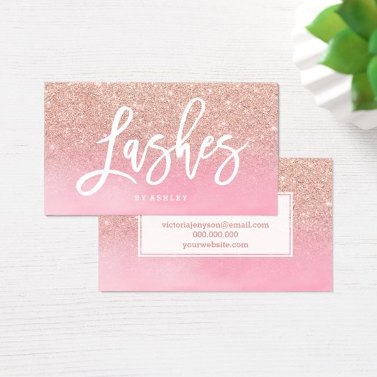 Lashes script rose gold glitter pink watercolor business