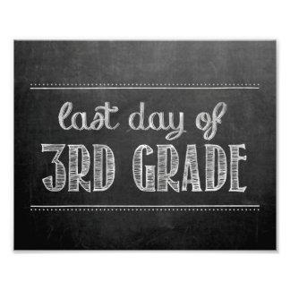 Last Day of 3rd Grade Chalkboard Sign Art Photo
