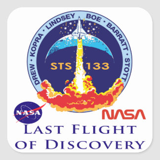 Last Flight of Discovery Square Sticker