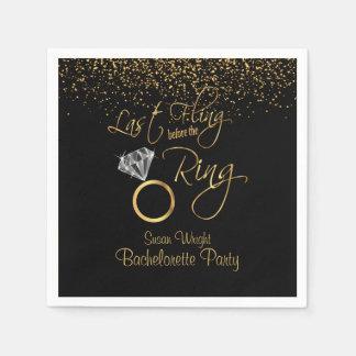 Last Fling Before the Ring Bachelorette - Gold Paper Serviettes